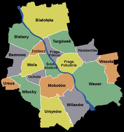華沙各區名稱,來源:https://pl.wikipedia.org/wiki/Podzia%C5%82_administracyjny_Warszawy