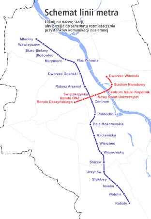 華沙捷運路線圖,來源:http://www.ztm.waw.pl/mapy.php?i=14&c=117&l=1